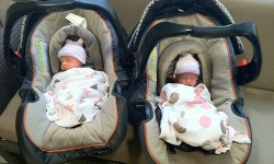 20110919 – Ainsley and Isla in car seats